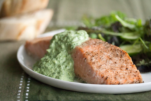 Cedar Planked Salmon with Sorrel Sauce