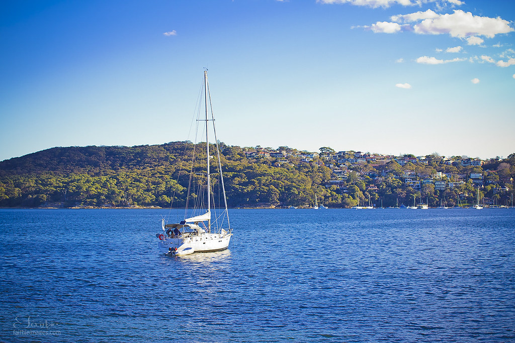 Sailing boat in Manly bay in Sydney Australia