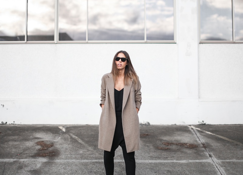 modern legacy blog street style off duty Zara camel long coat Camilla and Marc Zoya Cami Hacker drop crotch pant all black Helmut Lang Benday oxford perforated leather sale Alexander Wang chain bag clean masculine minimalist (8 of 14)