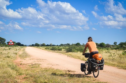 Cycling the D2512 road, Namibia