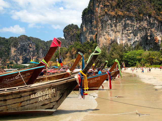 Longtail Boats at Railay West Beach