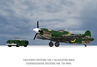 Supermarine Spitfire Mk VB (1941) and Triumph Spitfire Mk I Roadster (1962)