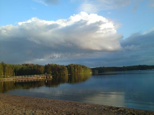sky cloud lake reflection mobile forest finland sand небо imatra лес озеро отражение песок облако финляндия иматра