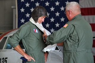 Vice Adm. John P. Currier (right) is relieved by Rear Adm. John H. Korn, commander of the Coast Guard 7th District, during a Coast Guard ancient albatross change of watch ceremony at Air Station Traverse City, Michigan, June 4, 2014. Currier, the 28th vice commandant of the Coast Guard, previously served in Traverse City and is retiring in the area. U.S. Coast Guard photo by Petty Officer 2nd Class Patrick Kelley.
