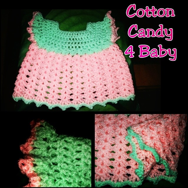 Cotton Candy for baby crochet baby dress in pink and pale sherbet green. Newborn size. #phoenixrosedesign #pink #green #sherbet #cottoncandy #baby #dress #cute #newborn #crochet #craft #creative #craftylady #creativity #babylove #handwork #handmade #etsyi