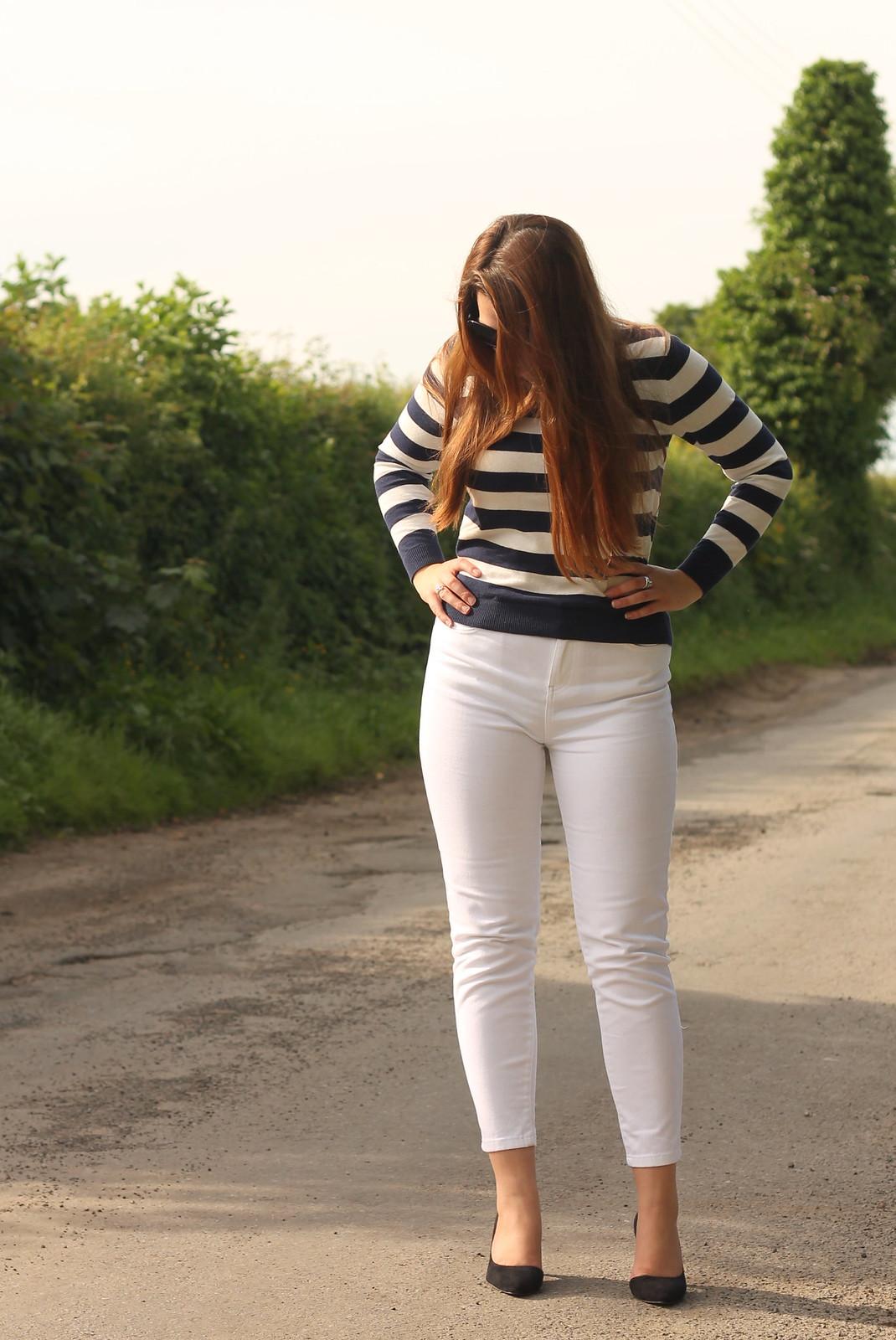 White capris with stripes
