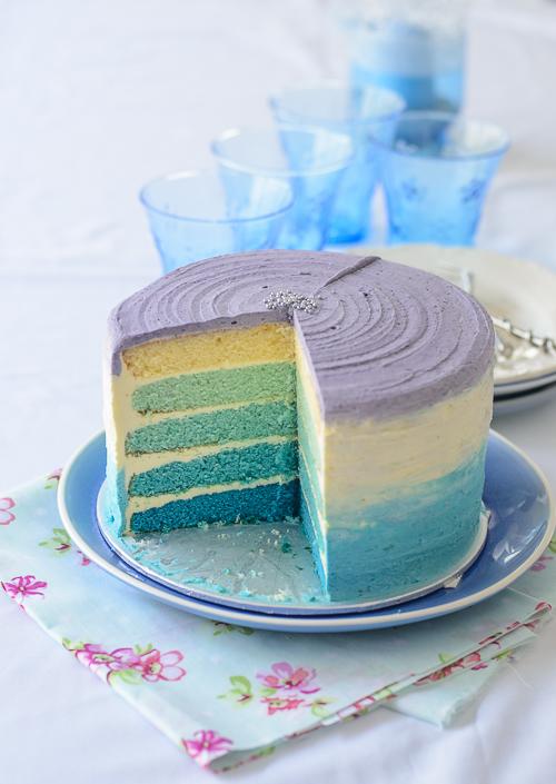From My Lemony Kitchen Blue Ombre Birthday Cake