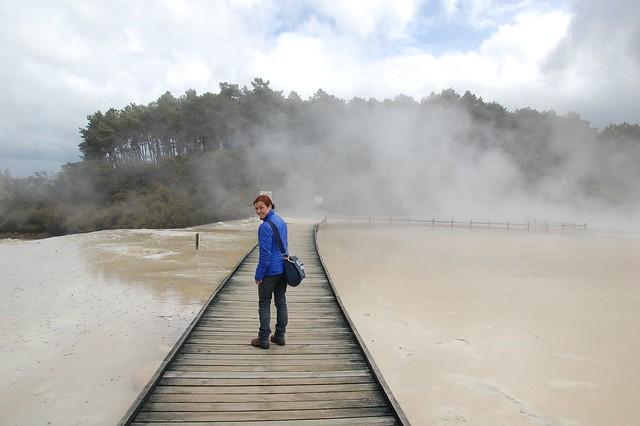 Cruzando el lago en Wai o tepu