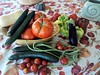 Daily harvest of tomatoes, cucumbers, cherry tomatoes, eggplant, peppers, long beans