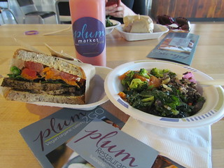 Smoked Tofu, Yam, Salad and Chipotle Mayo Sandwich with Salad bowl (kale and potato, broccoli and yam, caesar grain) at Plum Market