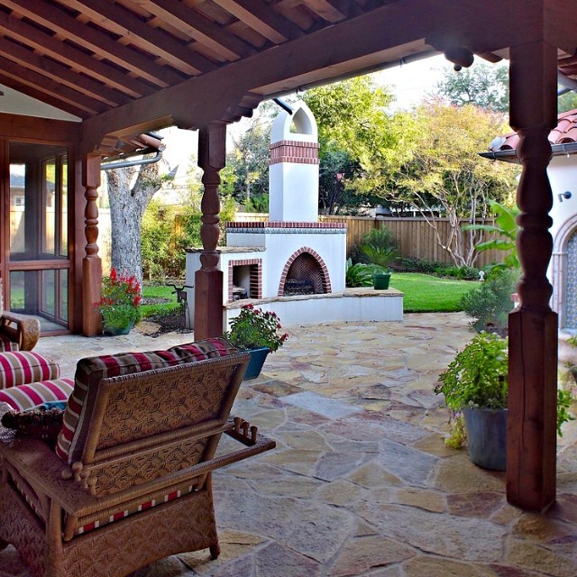 spanish mediterranean patio and landscaping