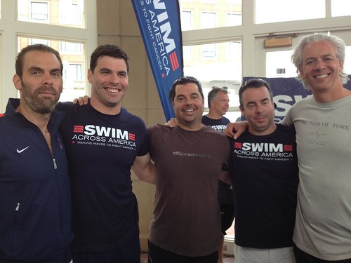 photo of Brad with the team that he is swimming with, called Electric Sea Turtle. Pictured, from left to right, are Joshua Safalow, Brad Safalow, Cody Jones, John Fox and David Henry. Team Electric Sea Turtle is swimming this year in memory of Robin Metro