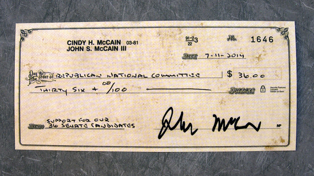 Republican National Committee, John McCain, fake check
