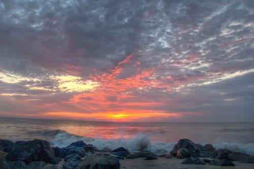 ocean summer beach rock clouds sunrise dawn newjersey rocks surf waves cloudy jetty nj wave atlantic og monmouthcounty hdr 2014 monmouthbeach sandsun