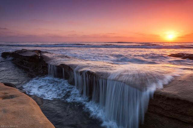 море, волны, закат