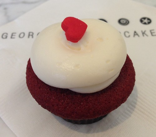 Mini red velvet cupcake with cream cheese frosting from Georgetown Cupcake