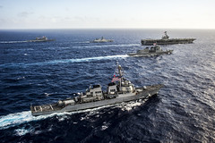 In this file photo, ships from U.S. Navy, Indian Navy, and Japan Maritime Self-Defense Force transit in formation during Malabar 2014. (U.S. Navy/MC3 Chris Cavagnaro)