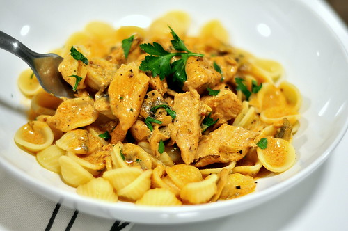 Chicken Stroganoff with Orecchiette