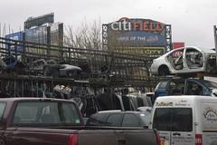 Citi Field behind a salvage yard