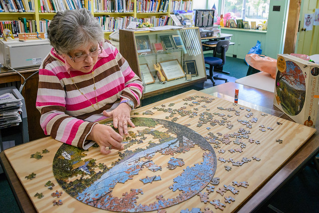 Working a Puzzle at the Dublin Public Library