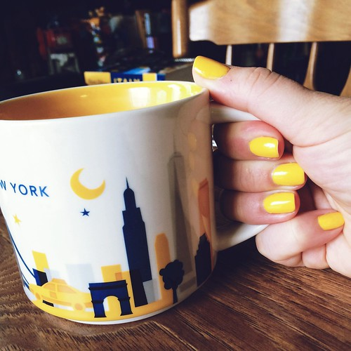 Nails are Zoya Darcy with Starbucks You Are Here collection - New York mug