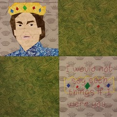 Playing catch up with #AsYouWish and getting some of my Princess Bride blocks finished! Paper pieced pattern by Alida/TweLoQ, #embroidery pattern by Amber. Free patterns on fandominstitches.com @hp5freak #paperpiecing #Humperdinck #fandominstitches