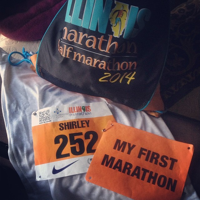 Packed up and ready to go. #shirleyruns #illinoismarathon