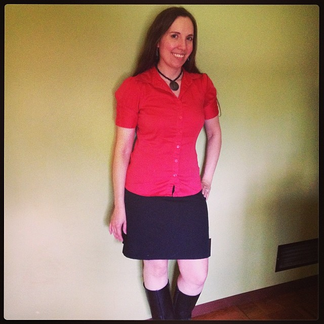 #mmmay14 Made the skirt, purchased top, jewelry previously worn this month.