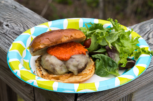 Burger with cheddar and Romesco sauce