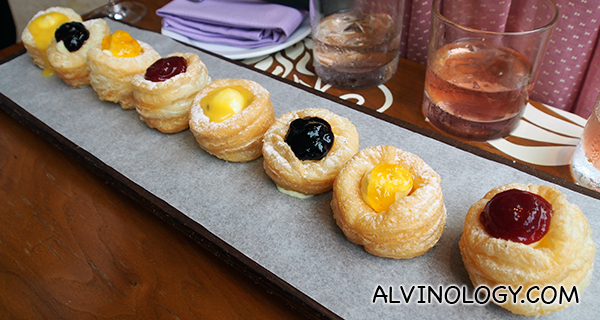 W Crones, Pastry Cream - Passionfruit Butter, Marmalade, Strawberry and Blackberry Preserves