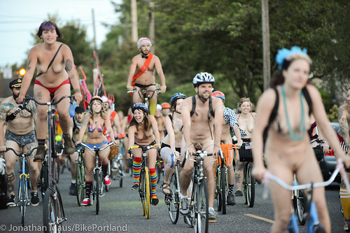 Nude bicycle ride