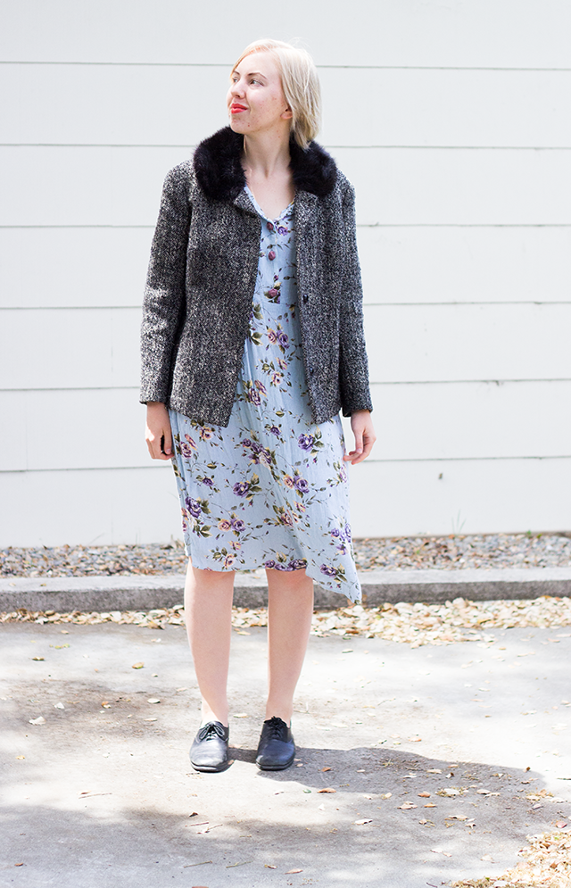 vintage grey jacket with black fur collar, mint green floral dress