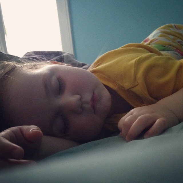 Sleeping beauty. Her feet itched so badly she didn't settle until 6am. My poor baby!