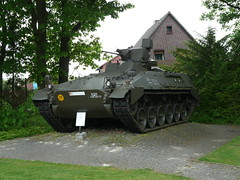 armored car(0.0), army(1.0), combat vehicle(1.0), military vehicle(1.0), weapon(1.0), vehicle(1.0), tank(1.0), self-propelled artillery(1.0), gun turret(1.0), churchill tank(1.0), m113 armored personnel carrier(1.0), land vehicle(1.0), military(1.0),