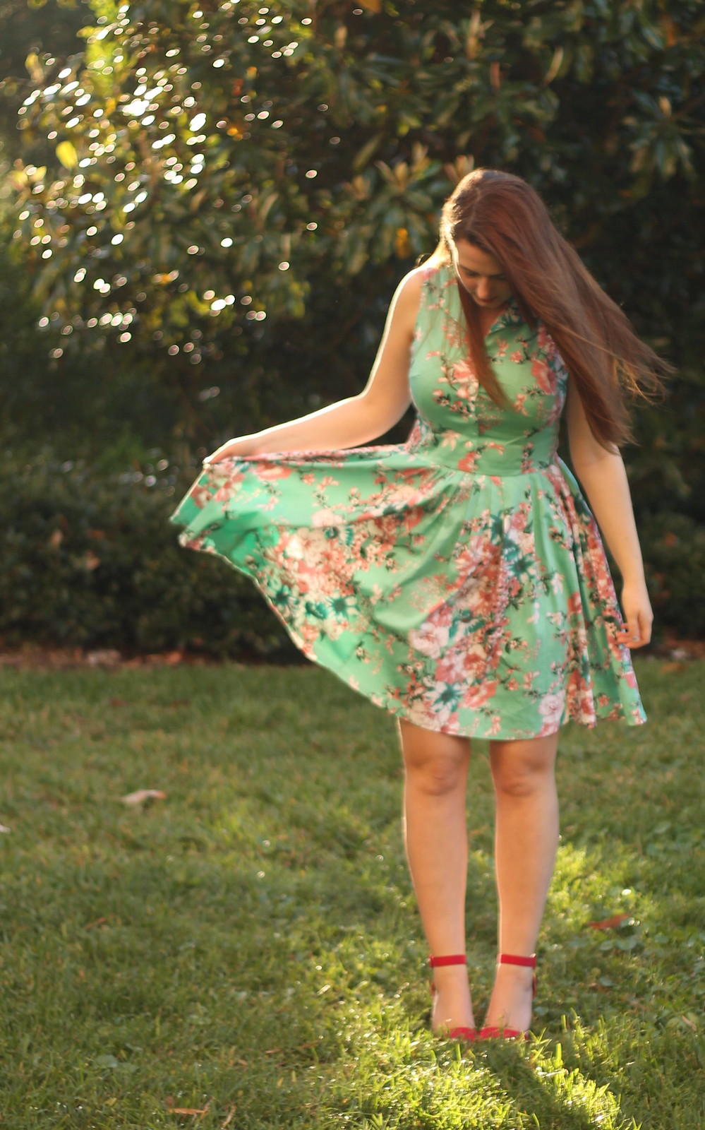 50s floral dress outfit