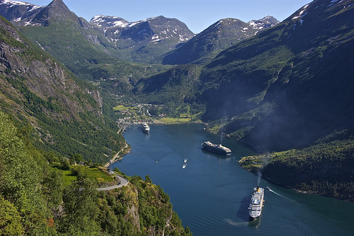 Cruise ships among the fjords