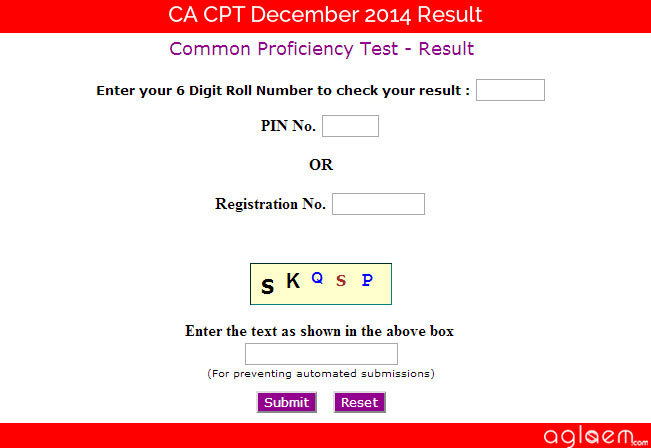 CA CPT December 2014 Result - CA Exam Results