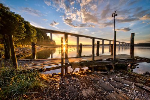 bridge trees sunset water clouds stars denmark jetty vejle vejlefjord samyang14mmf28 sonya7r bentvelling
