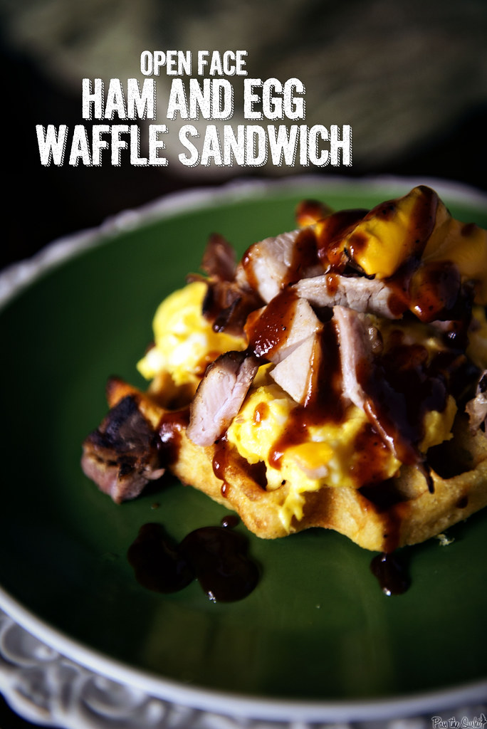 Open Face Ham and Egg Waffle Sandwich  || GirlCarnivore.com