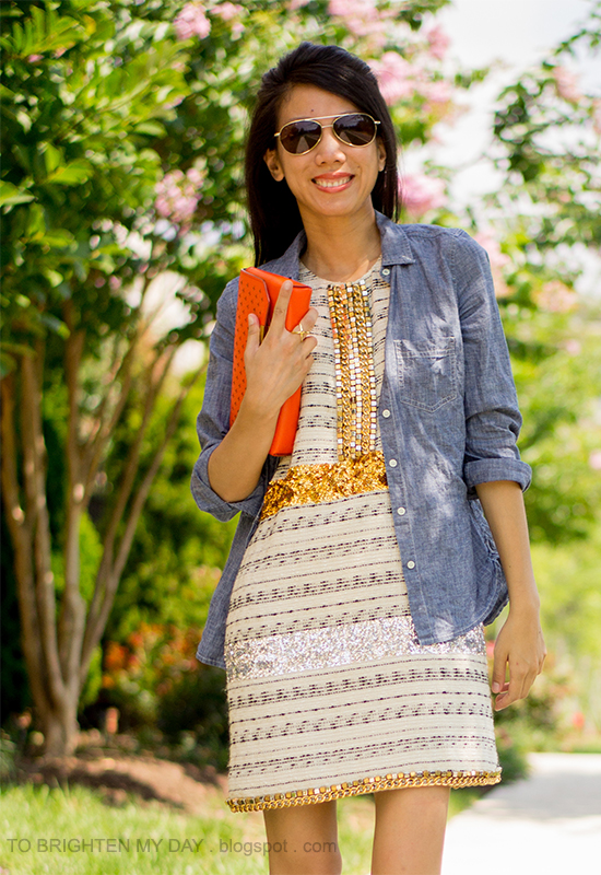 chambray shirt, sequins + tweed dress, orange clutch