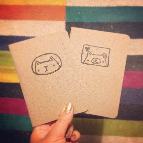 Printed a few little bear + kitteh notebooks tonight too! #blockprinting #migrationgoods