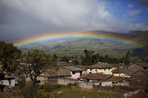 Rainbow over Olmedo town, Ecuador (near Cayambe)