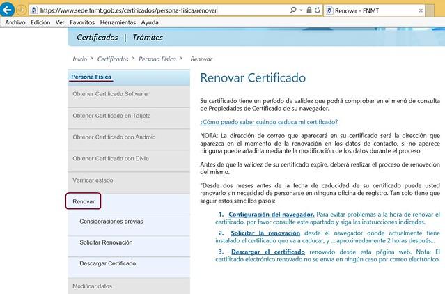 Sede electrónica FNMT - Renovar certificado