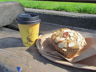Almond Poppyseed Muffin and Soy Chai from Cinnamon Works