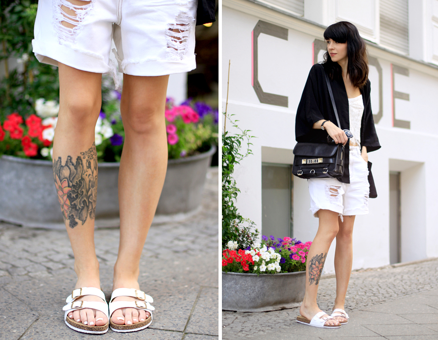 Sojeans white summer sale look styling ripped jeans lace top birkenstock OOTD fashionblogger style Ricarda Schernus Berlin blogger CATS & DOGS 1