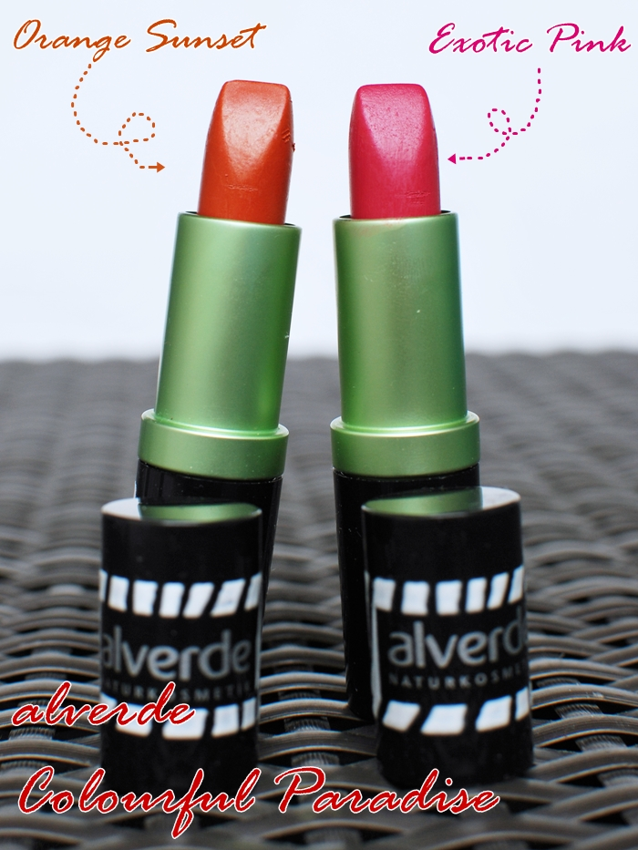 alverde Colourful Lipstick 20 Orange Sunset 30 Exotic Pink