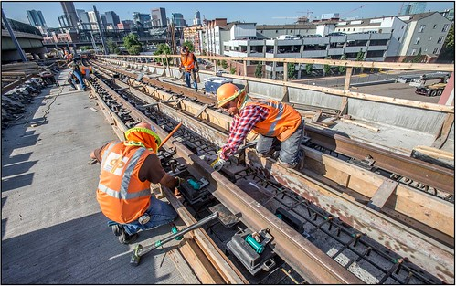 Photo of track installation on South Platte River Bridge