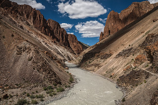 India- View of the Phuktal valley from the monastery, Zanskar