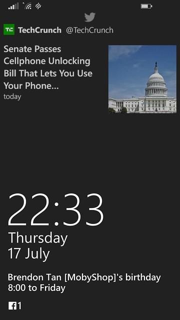 Nokia Lumia 930 - WP8.1 Lock Screen