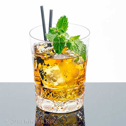 Brandy Smash Cocktail with mint garnish